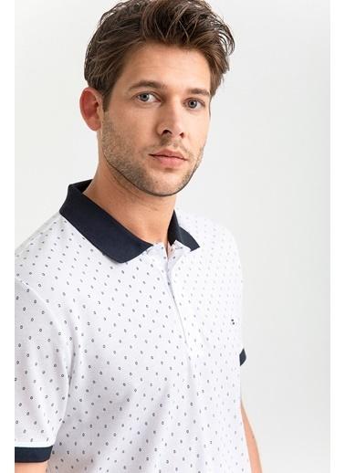 Avva Erkek  Polo Yaka Baskılı Tişört A01S1233 Beyaz